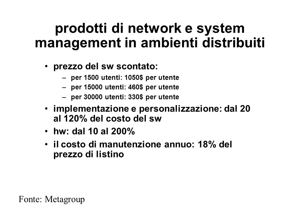 prodotti di network e system management in ambienti distribuiti