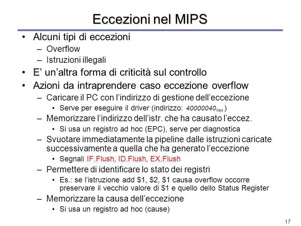 Eccezioni nel MIPS Alcuni tipi di eccezioni