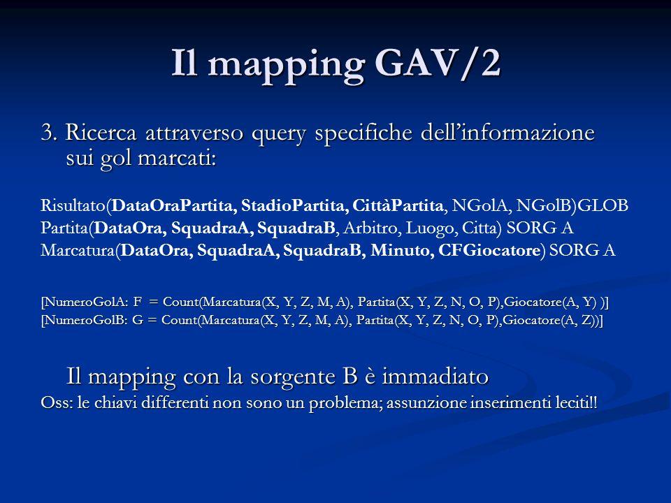 Il mapping GAV/2 3. Ricerca attraverso query specifiche dell'informazione sui gol marcati: