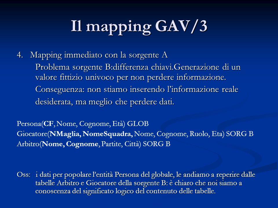 Il mapping GAV/3 4. Mapping immediato con la sorgente A