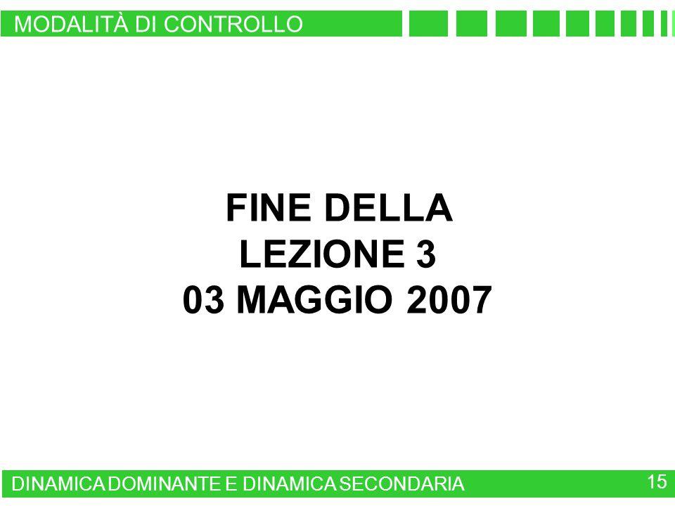 FINE DELLA LEZIONE 3 03 MAGGIO 2007
