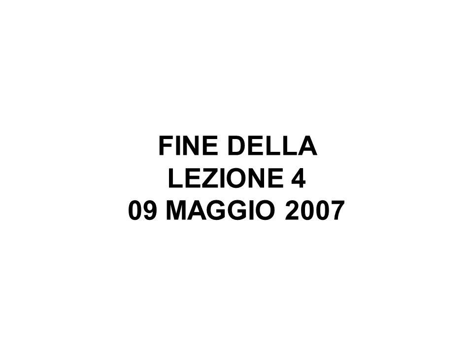 FINE DELLA LEZIONE 4 09 MAGGIO 2007