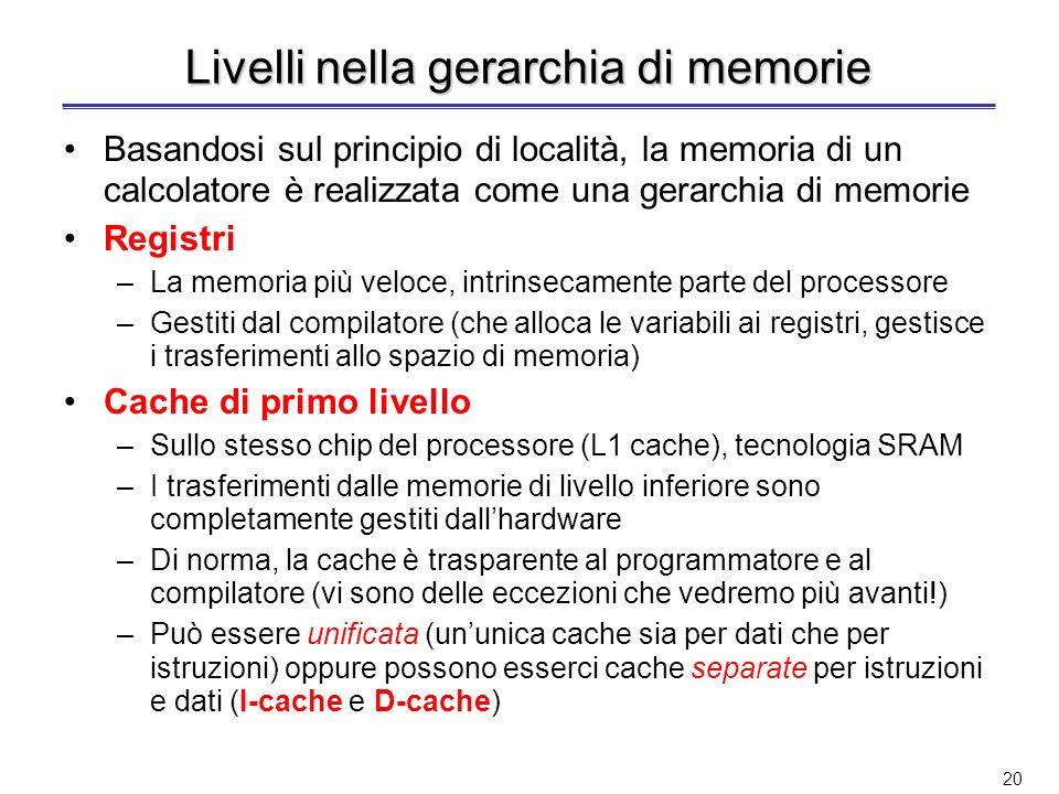 Livelli nella gerarchia di memorie