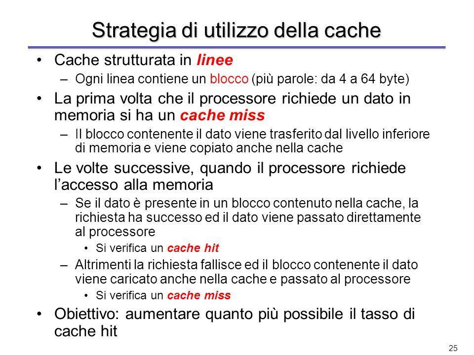 Strategia di utilizzo della cache
