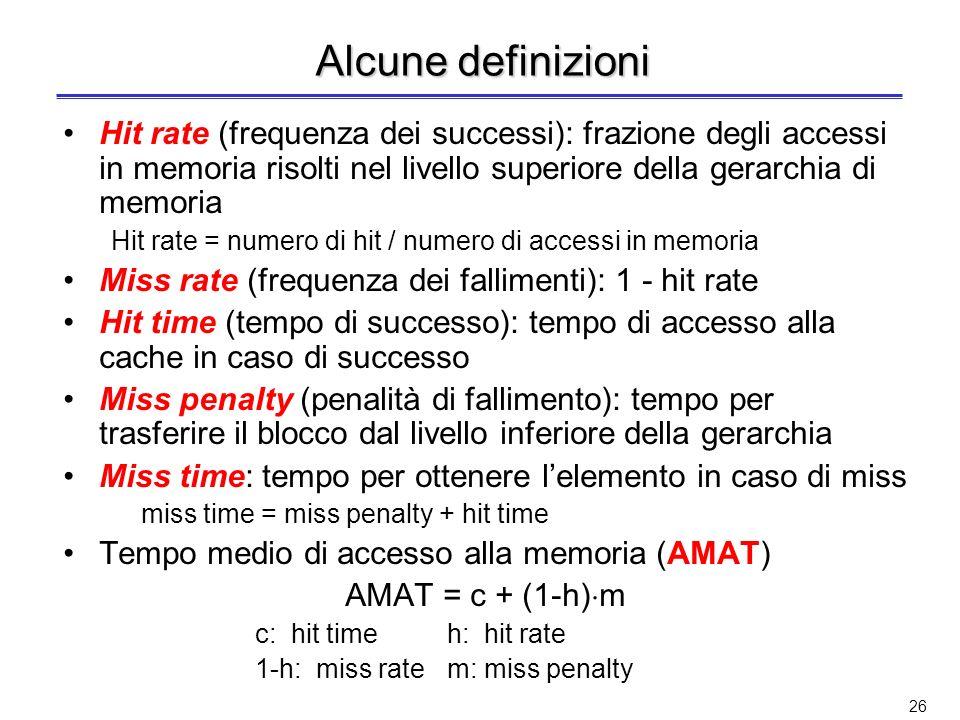 Alcune definizioni Hit rate (frequenza dei successi): frazione degli accessi in memoria risolti nel livello superiore della gerarchia di memoria.