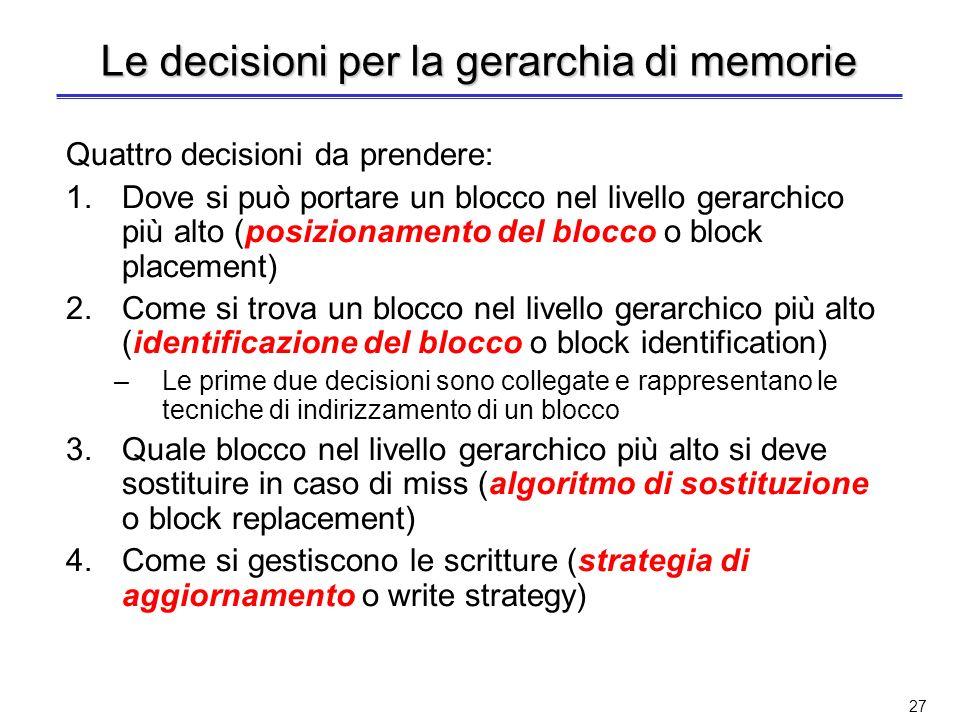 Le decisioni per la gerarchia di memorie