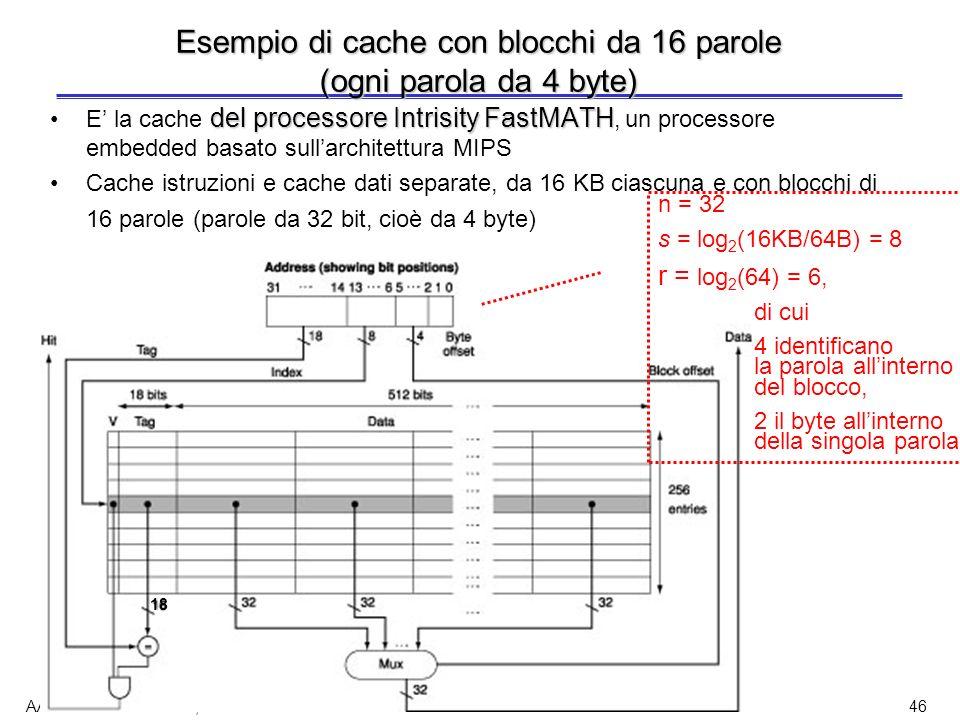 Esempio di cache con blocchi da 16 parole (ogni parola da 4 byte)
