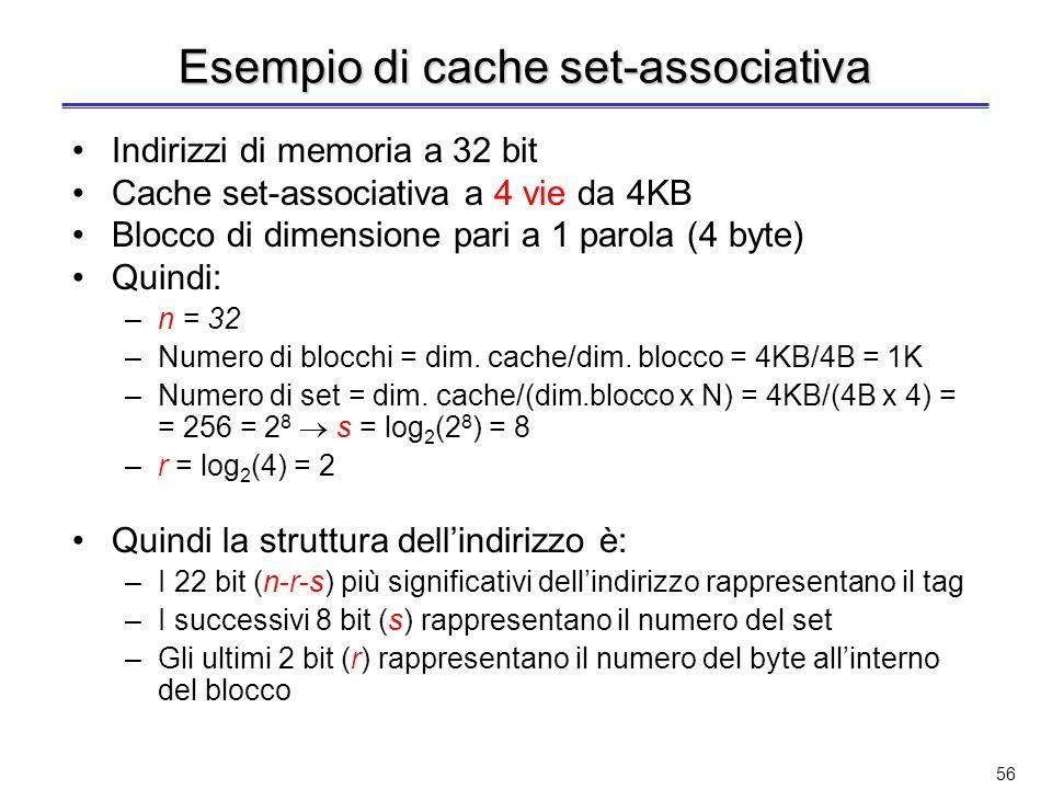 Esempio di cache set-associativa