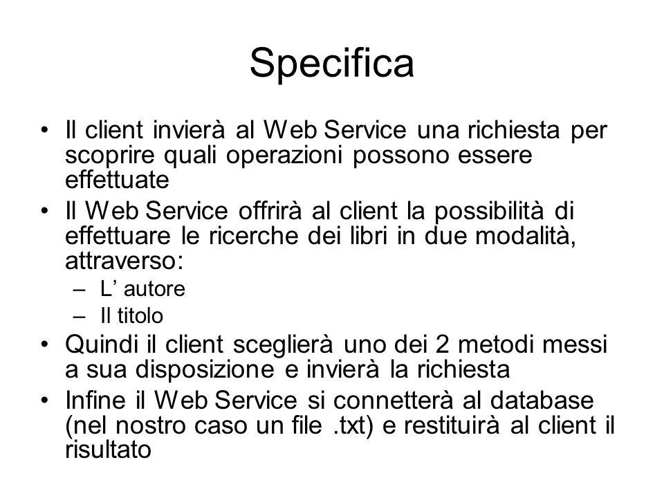 Specifica Il client invierà al Web Service una richiesta per scoprire quali operazioni possono essere effettuate.