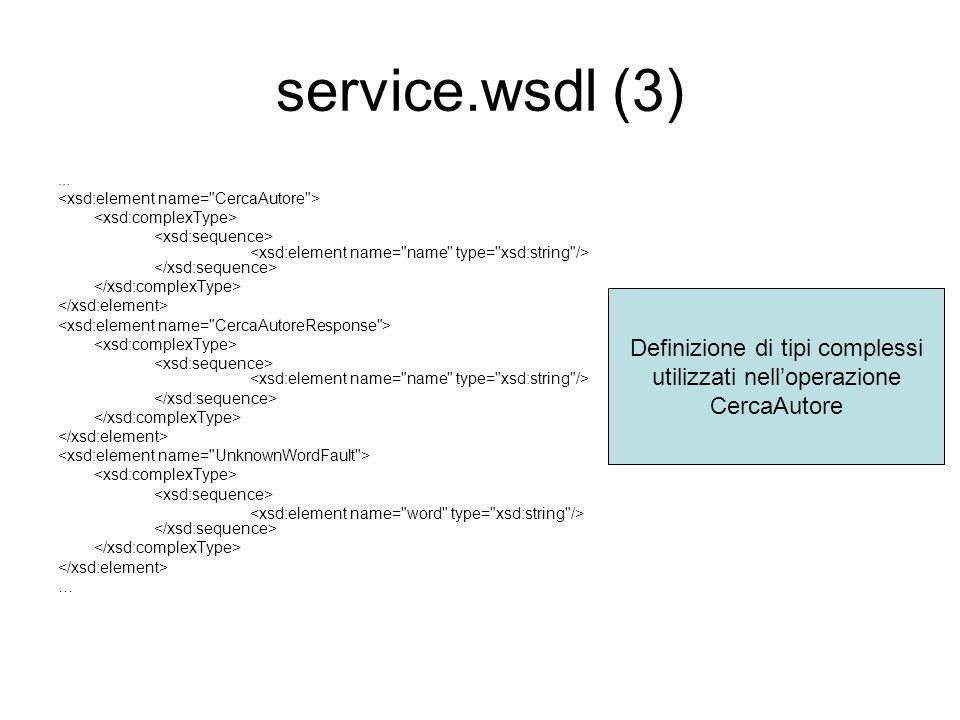 service.wsdl (3) Definizione di tipi complessi