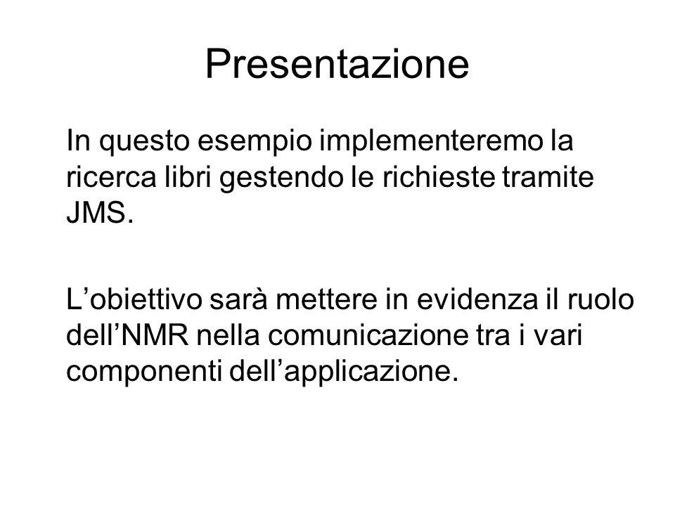 Presentazione In questo esempio implementeremo la ricerca libri gestendo le richieste tramite JMS.