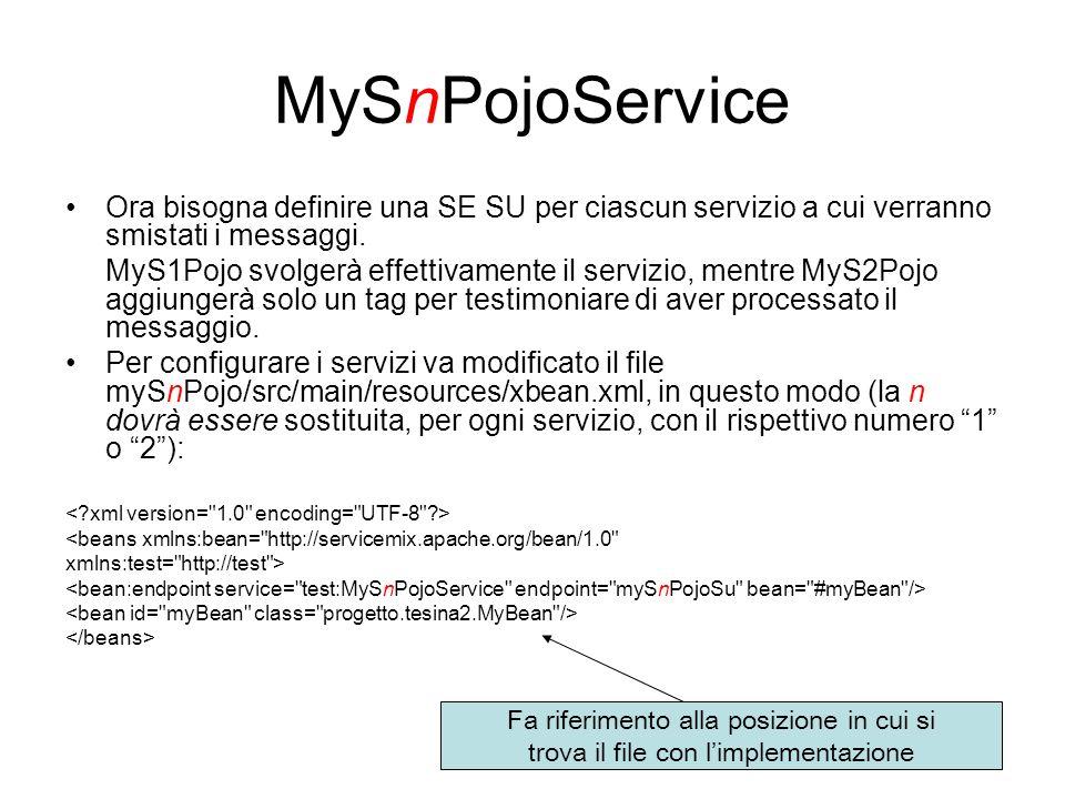 MySnPojoService Ora bisogna definire una SE SU per ciascun servizio a cui verranno smistati i messaggi.