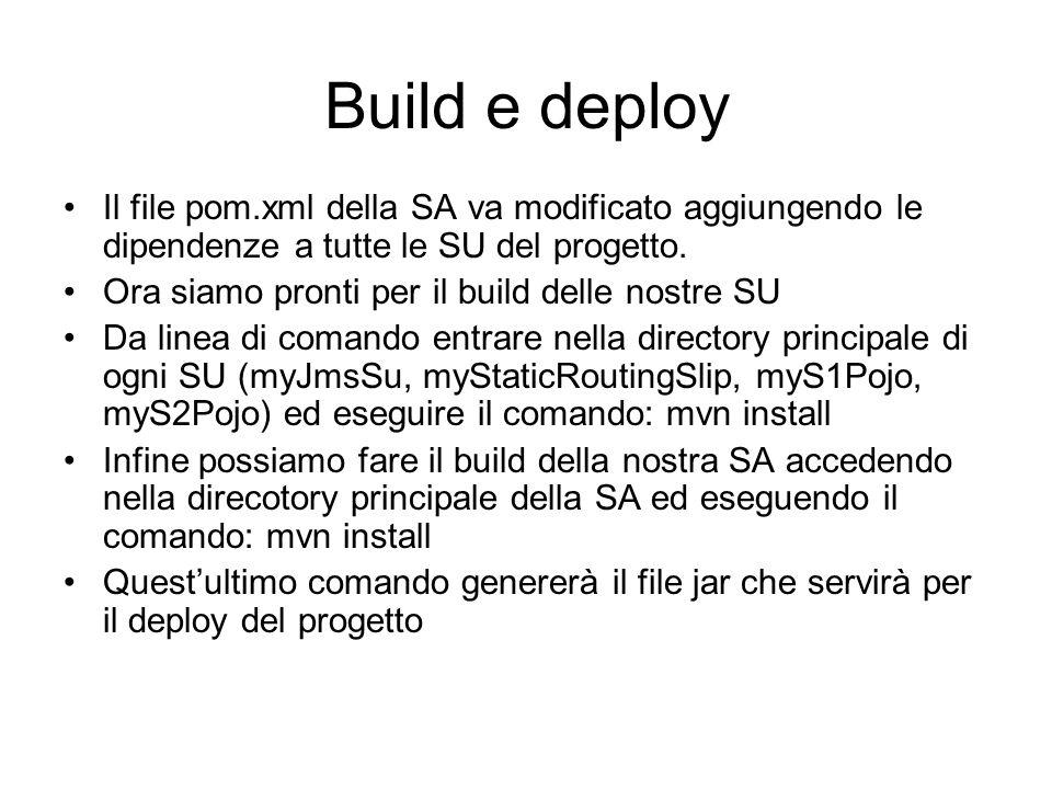 Build e deploy Il file pom.xml della SA va modificato aggiungendo le dipendenze a tutte le SU del progetto.