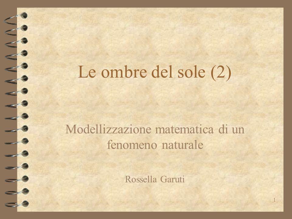 Modellizzazione matematica di un fenomeno naturale Rossella Garuti