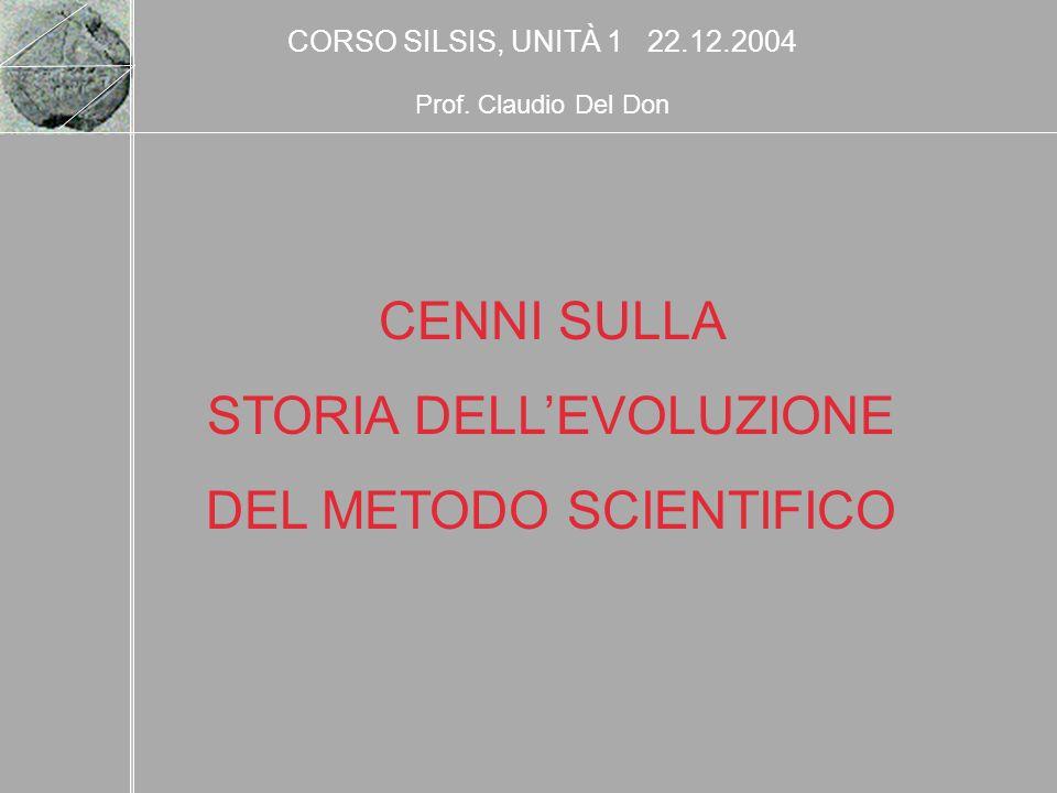STORIA DELL'EVOLUZIONE DEL METODO SCIENTIFICO
