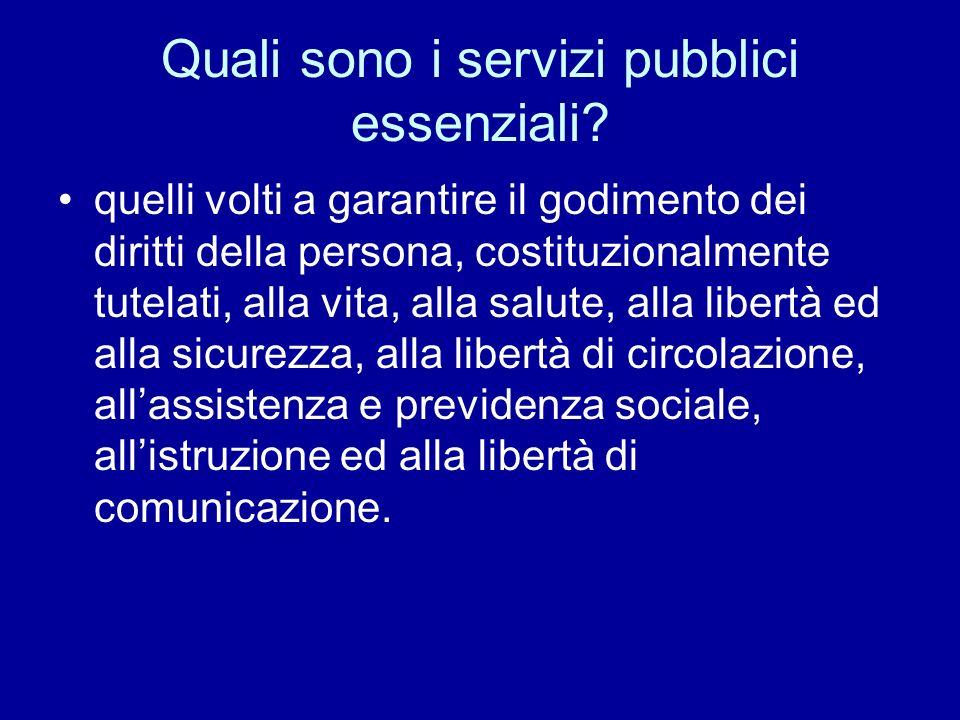 Quali sono i servizi pubblici essenziali
