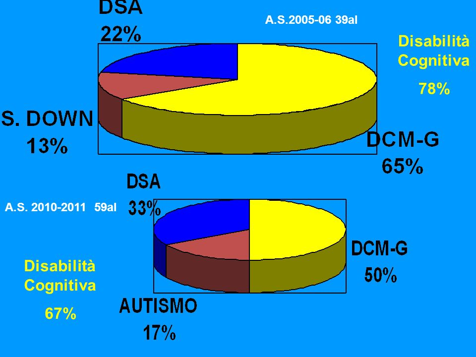 Disabilità Cognitiva 78% Disabilità Cognitiva 67%