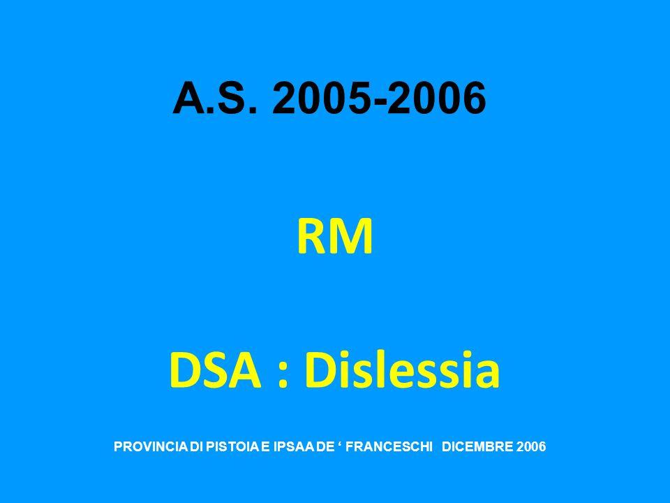 PROVINCIA DI PISTOIA E IPSAA DE ' FRANCESCHI DICEMBRE 2006