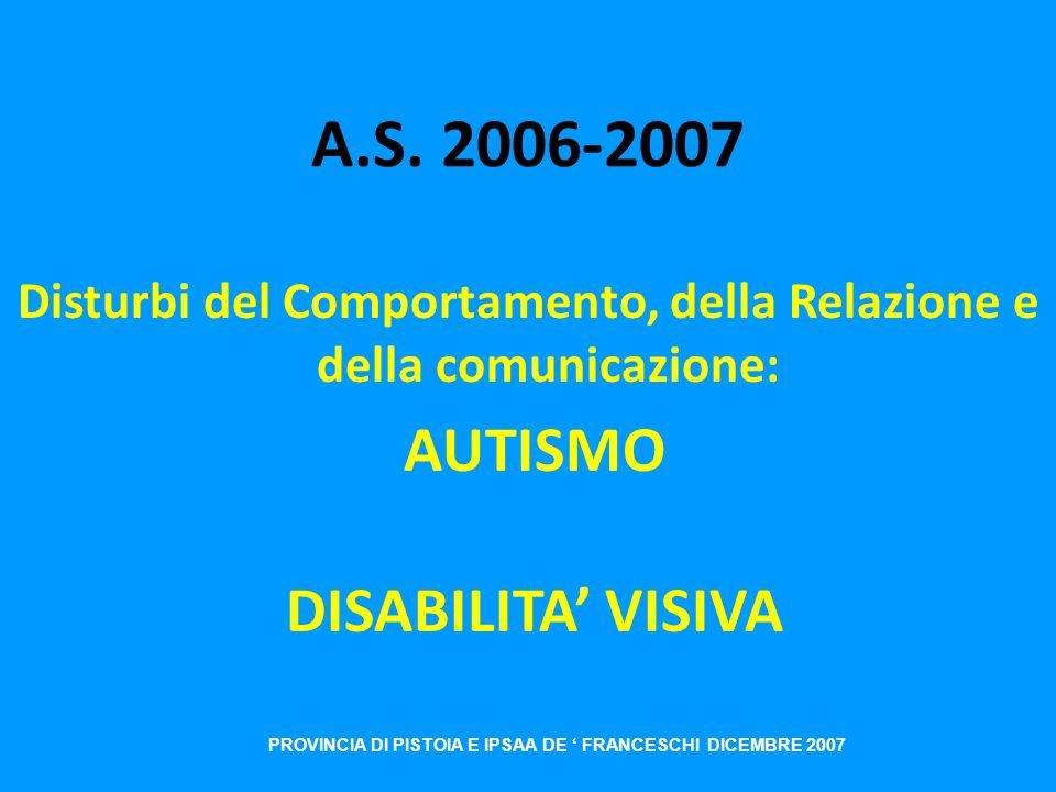 A.S. 2006-2007 AUTISMO DISABILITA' VISIVA