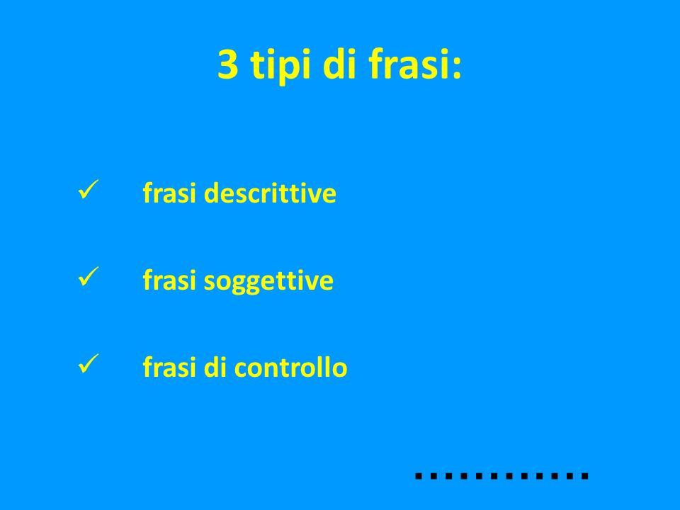 3 tipi di frasi: ………… frasi descrittive frasi soggettive