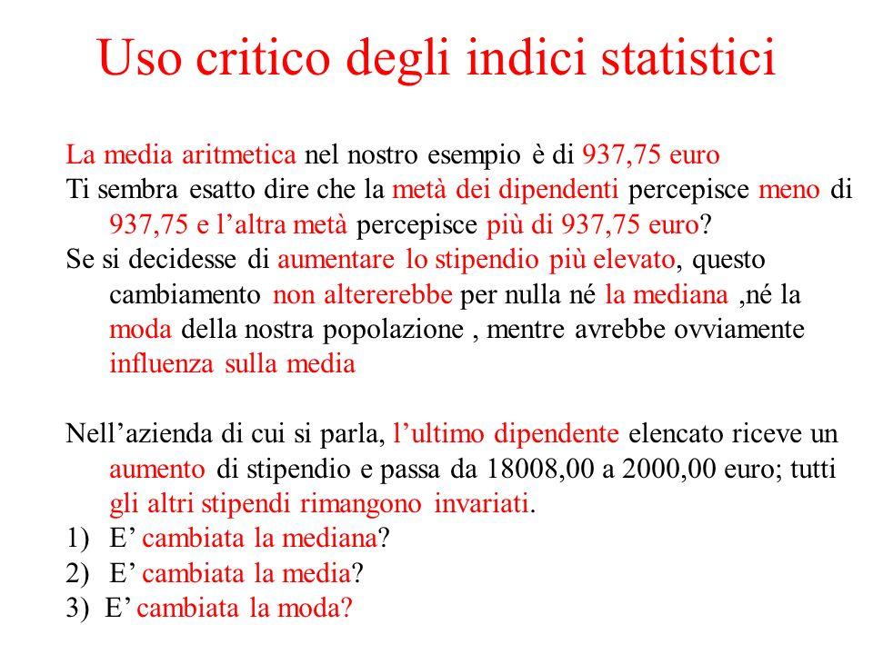 Uso critico degli indici statistici