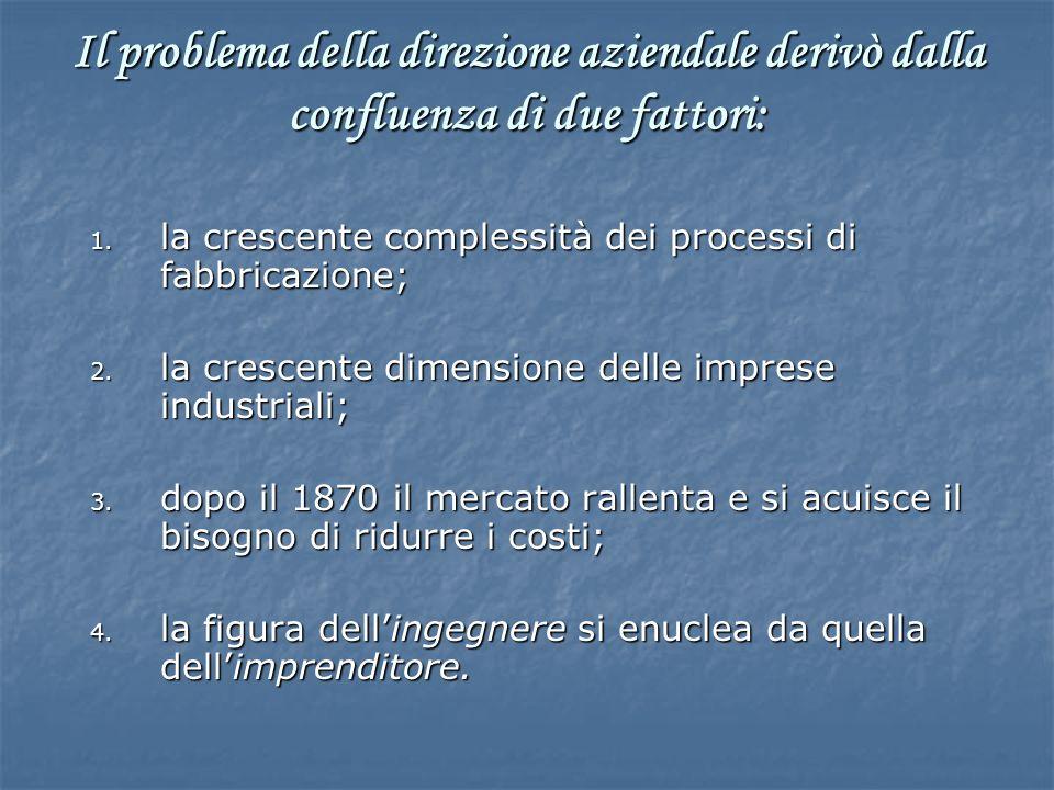 Il problema della direzione aziendale derivò dalla confluenza di due fattori: