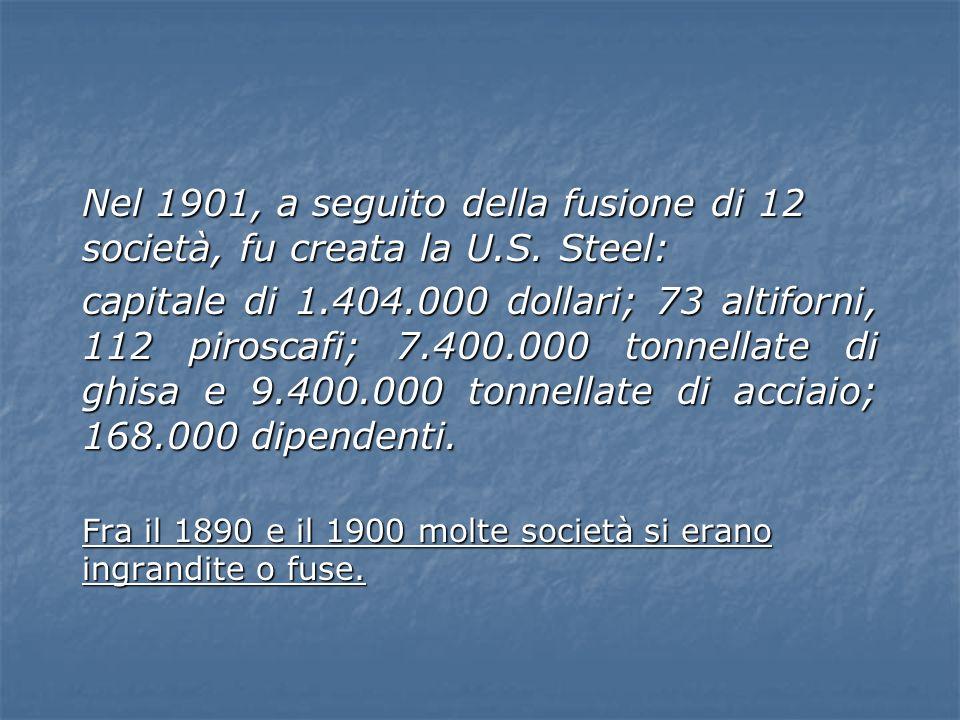 Nel 1901, a seguito della fusione di 12 società, fu creata la U. S