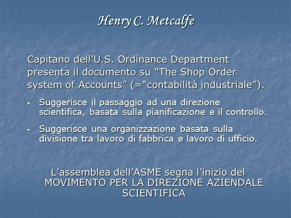 Henry C. Metcalfe Capitano dell'U.S. Ordinance Department