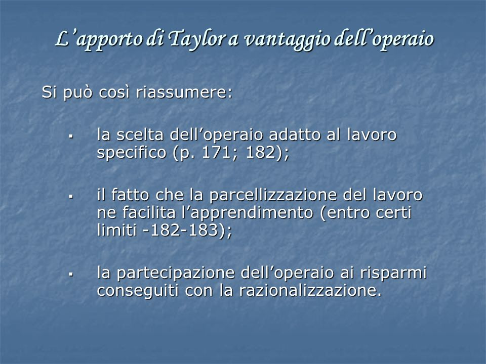 L'apporto di Taylor a vantaggio dell'operaio
