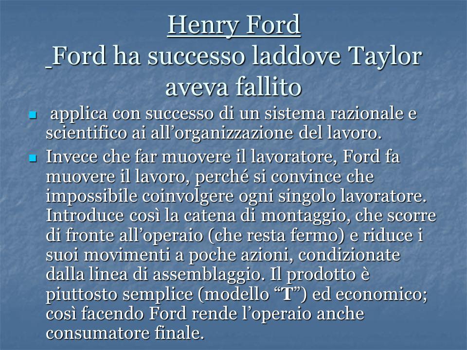 Henry Ford Ford ha successo laddove Taylor aveva fallito
