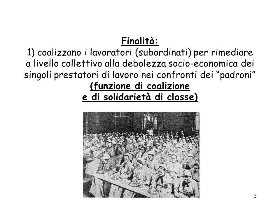 Finalità: 1) coalizzano i lavoratori (subordinati) per rimediare a livello collettivo alla debolezza socio-economica dei singoli prestatori di lavoro nei confronti dei padroni (funzione di coalizione e di solidarietà di classe)