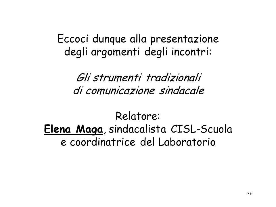Eccoci dunque alla presentazione degli argomenti degli incontri: Gli strumenti tradizionali di comunicazione sindacale Relatore: Elena Maga, sindacalista CISL-Scuola e coordinatrice del Laboratorio