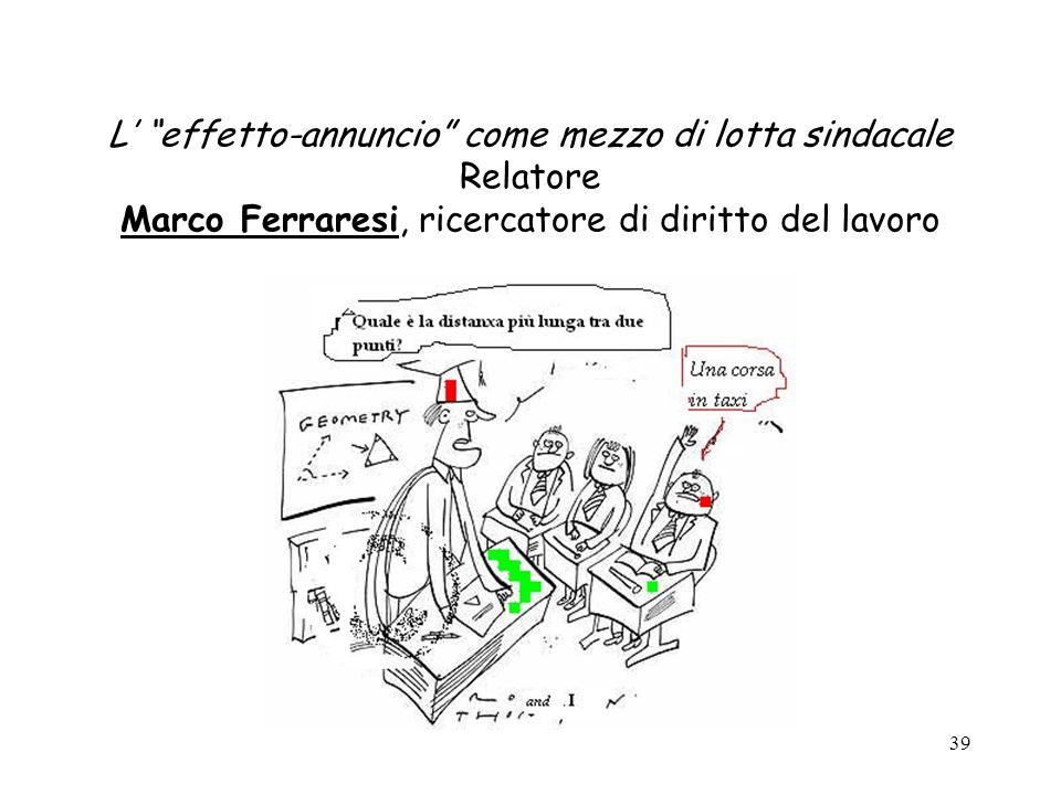 L' effetto-annuncio come mezzo di lotta sindacale Relatore Marco Ferraresi, ricercatore di diritto del lavoro