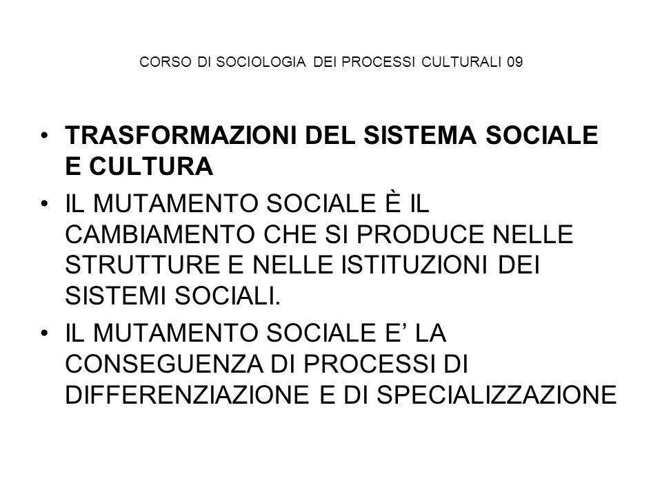 CORSO DI SOCIOLOGIA DEI PROCESSI CULTURALI 09