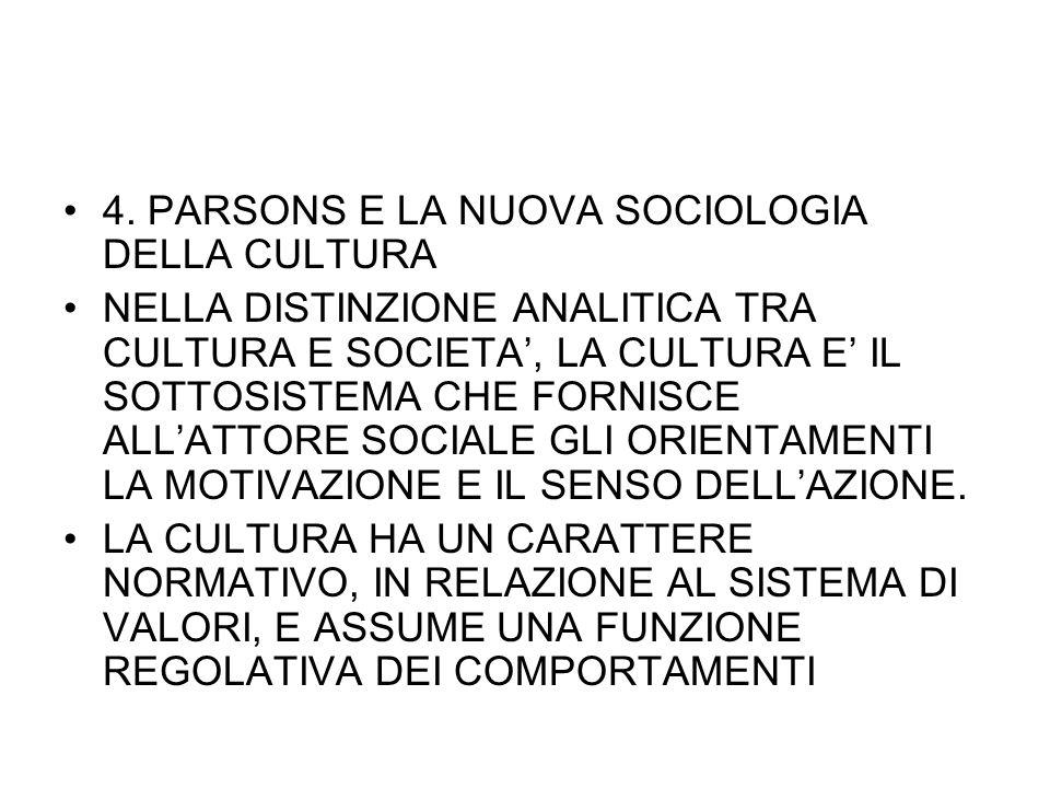 4. PARSONS E LA NUOVA SOCIOLOGIA DELLA CULTURA