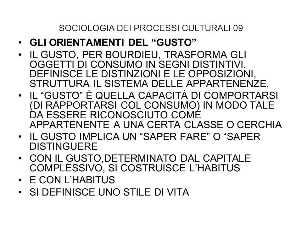 SOCIOLOGIA DEI PROCESSI CULTURALI 09