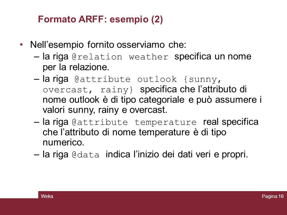 Formato ARFF: esempio (2)