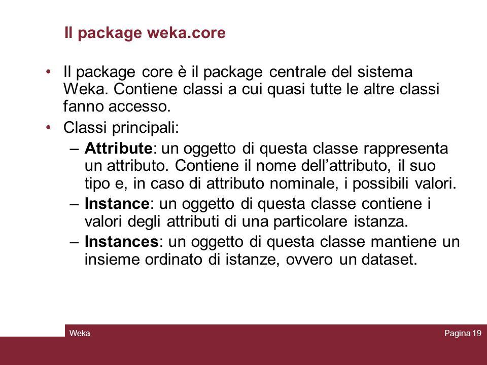 Il package weka.core Il package core è il package centrale del sistema Weka. Contiene classi a cui quasi tutte le altre classi fanno accesso.