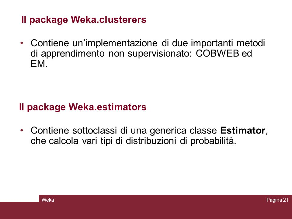 Il package Weka.clusterers