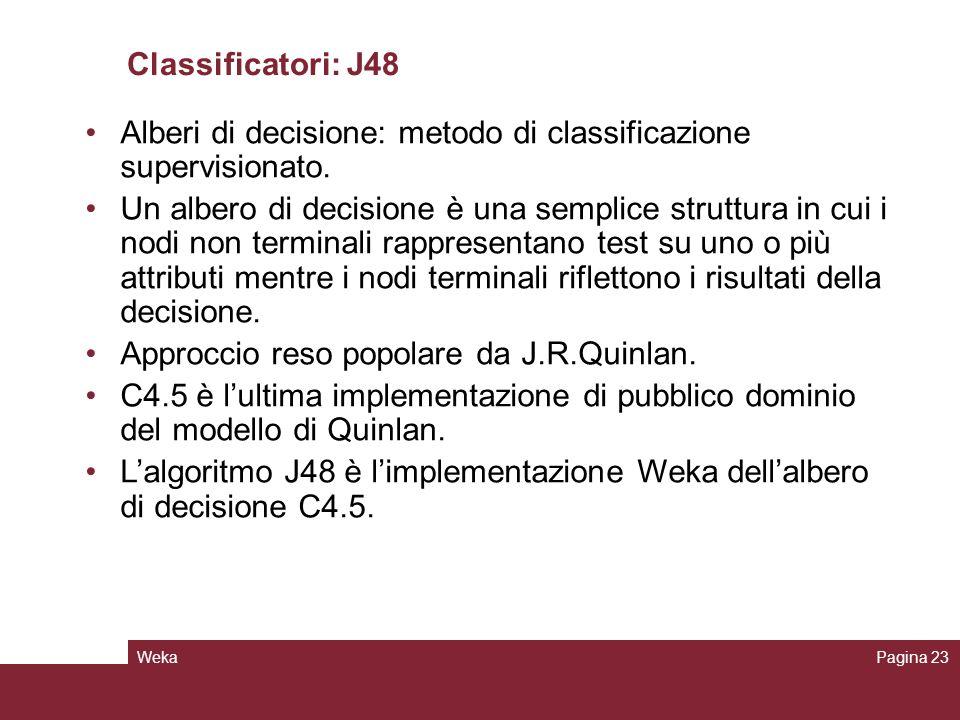 Alberi di decisione: metodo di classificazione supervisionato.