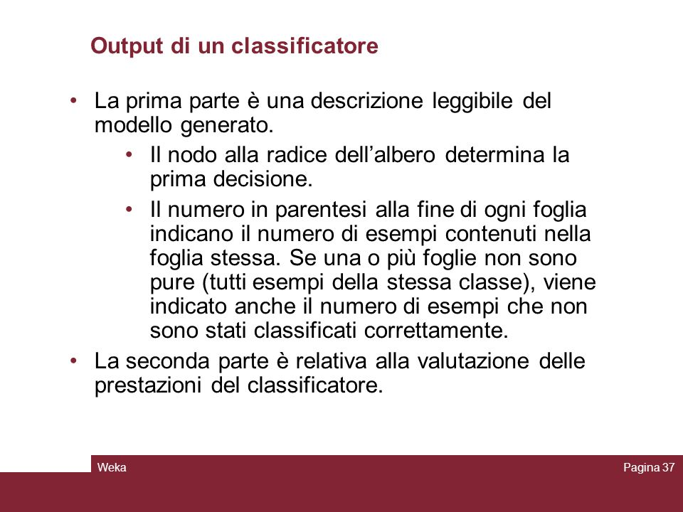 Output di un classificatore