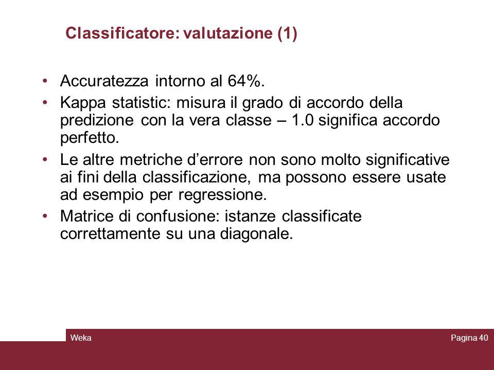 Classificatore: valutazione (1)