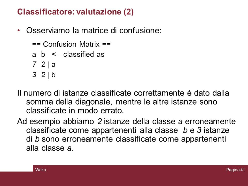 Classificatore: valutazione (2)