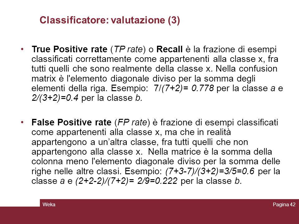 Classificatore: valutazione (3)