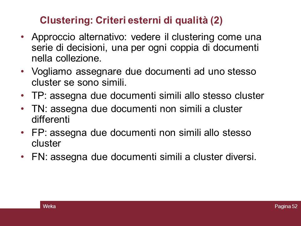 Clustering: Criteri esterni di qualità (2)