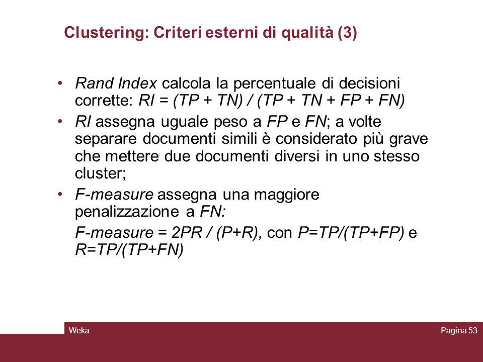 Clustering: Criteri esterni di qualità (3)