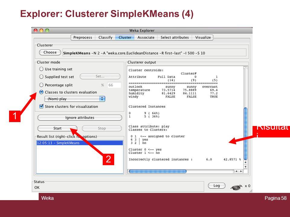 Explorer: Clusterer SimpleKMeans (4)