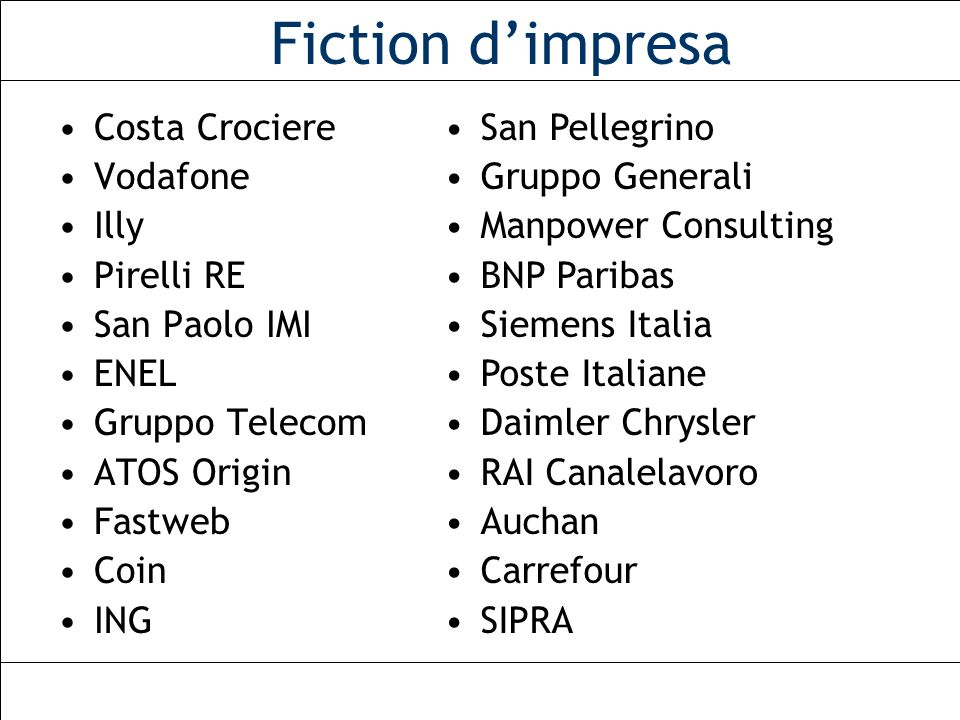Fiction d'impresa Costa Crociere Vodafone Illy Pirelli RE