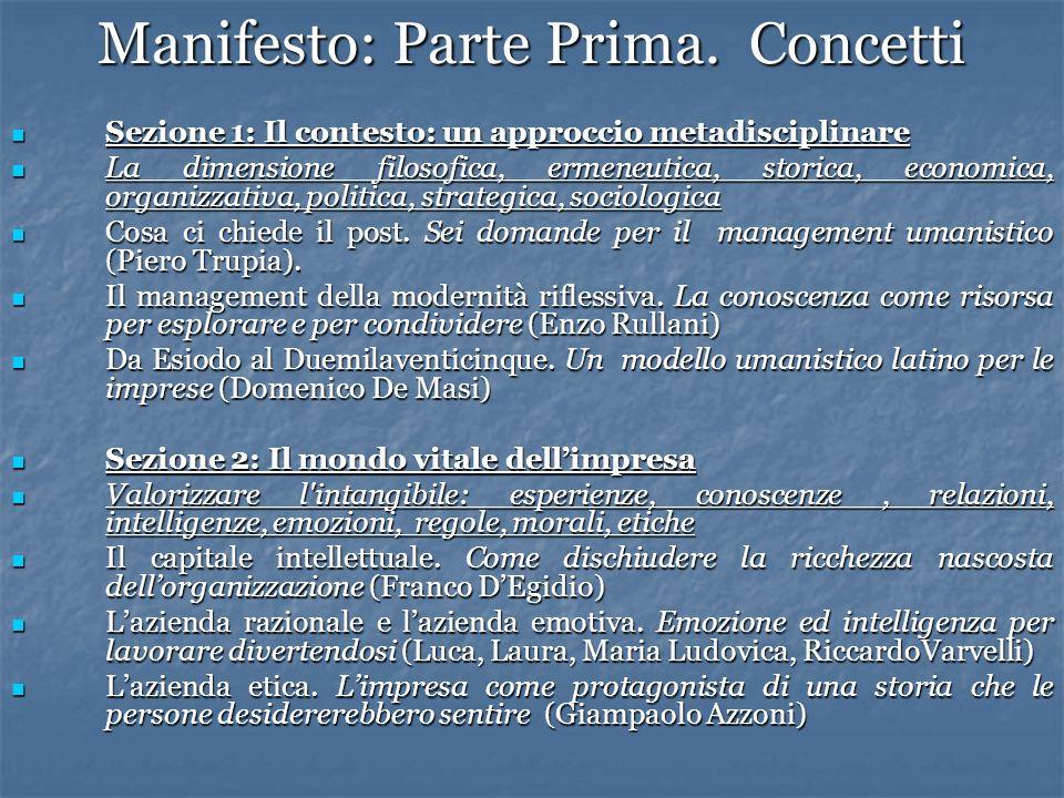 Manifesto: Parte Prima. Concetti