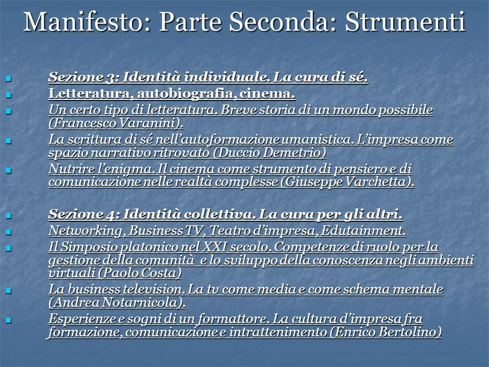 Manifesto: Parte Seconda: Strumenti